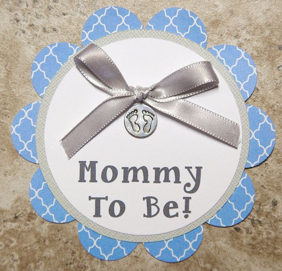 Baby footprint Theme motif Button Pin blue and by lovetiesbymeggin, $3.50