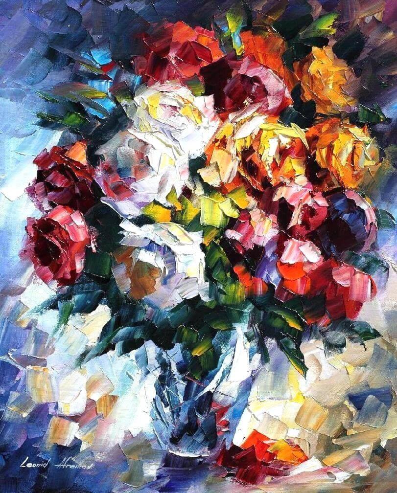 Roses Palette Knife Oil Painting On Canvas By Leonid Afremov In 2020 Oil Painting On Canvas Oil Painting Canvas Painting