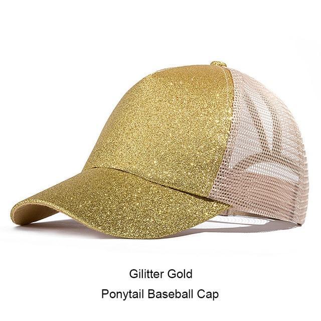 59a1cb36a6e Glitter Ponytail Baseball Cap Women Snap-back