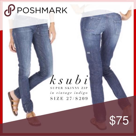 "b3eff909b3 KSubi • Super Skinny Zip Jeans Vintage Indigo 27 - KSubi - Women s - Skinny  Ankle Zip Jeans - Blue - Size 27 - Rise 7"" - Inseam 33"" - Great Condition  Ksubi ..."