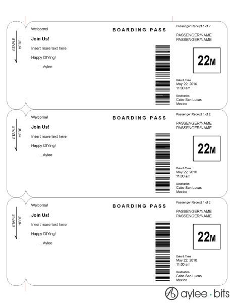 Boarding pass invitation template by AyleeBits Party - free pass template