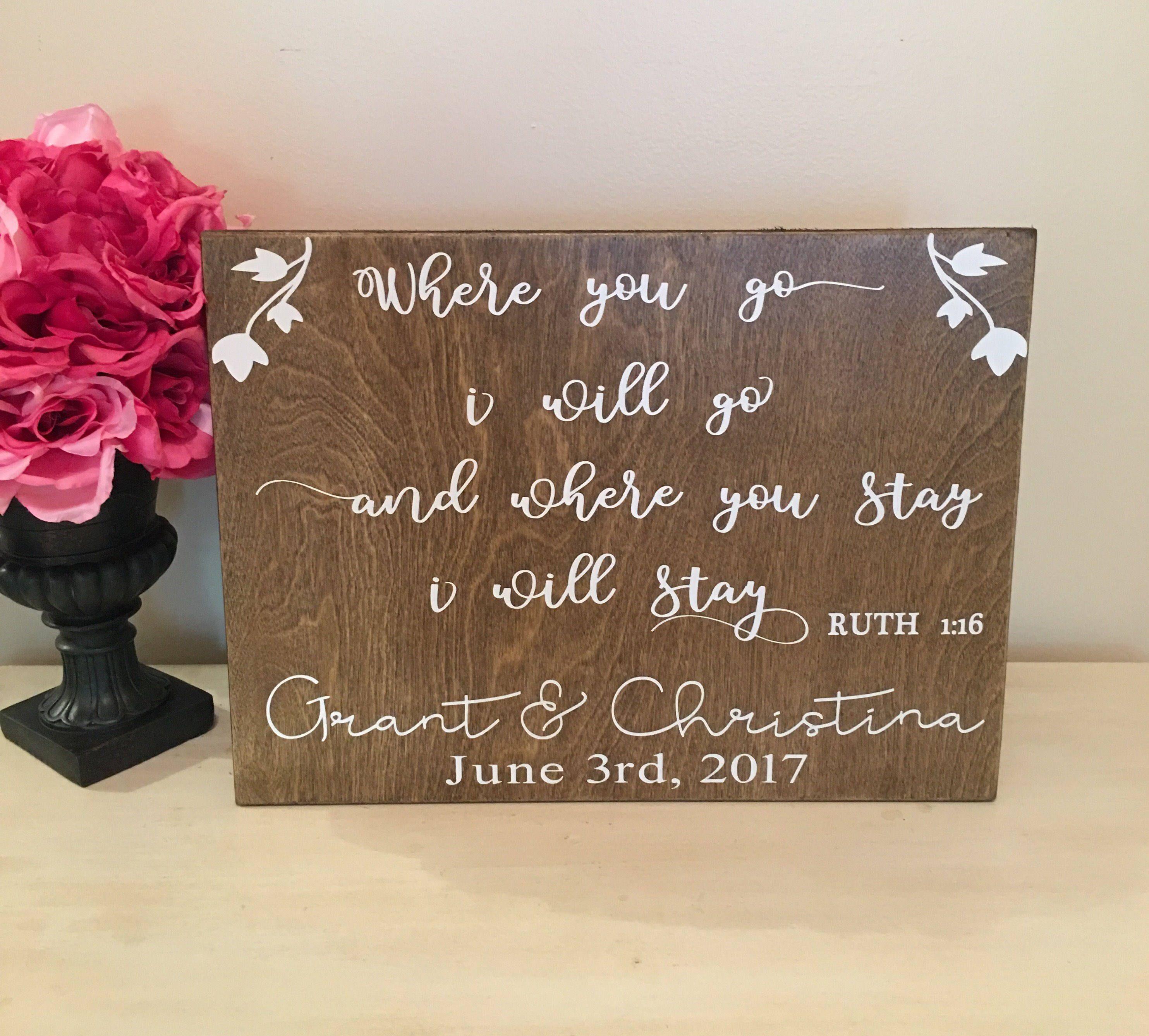 Personalized Wedding Sign Ruth 1 16Christian WeddingEngagement GiftReligious