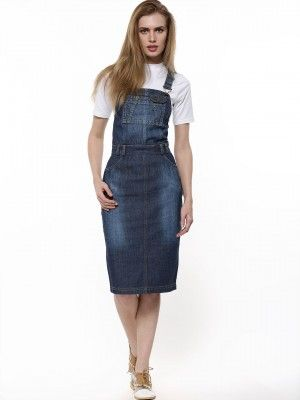 3a611d2860 KOOVS Pinafore Denim Pencil Dress