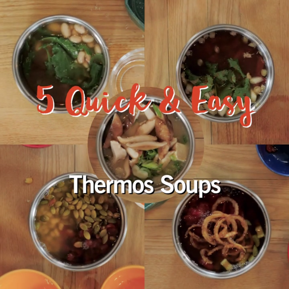 for a healthy lunch on-the-go? No problem with these 5 thermos soups, made in just 5 minutes or less. Tap for the all of the full recipes.