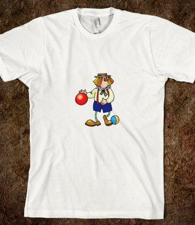 clown dribbling ball