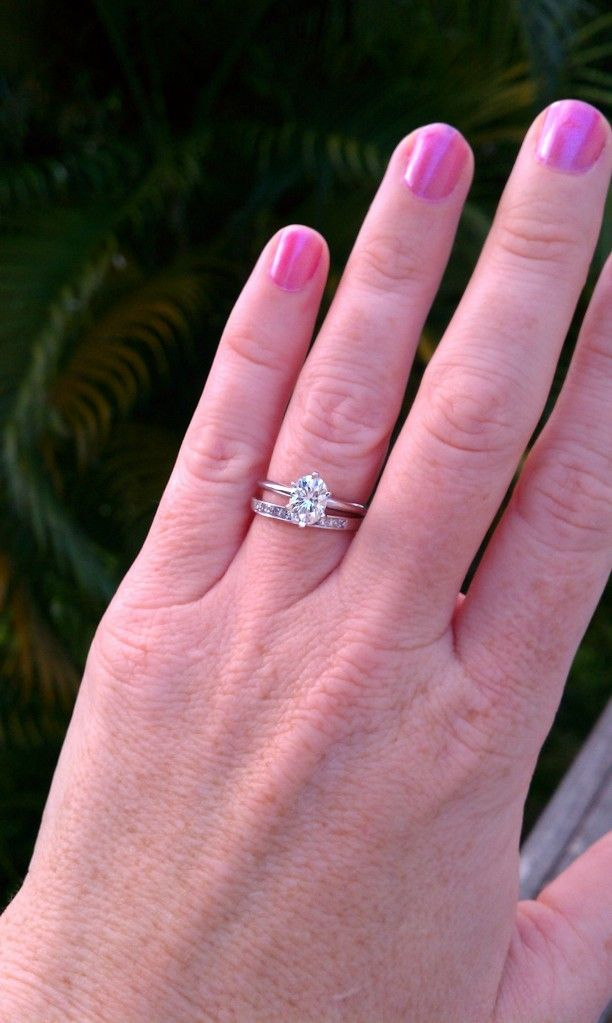 15ct Oval Solitaire engagement ring with channel set wedding band