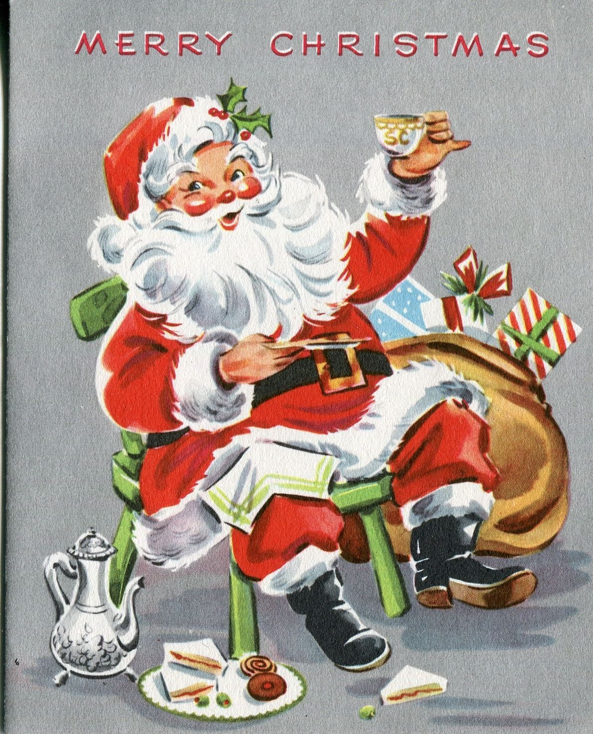 Unused Vintage Artistic Christmas Card Santa Claus Drinking Coffee