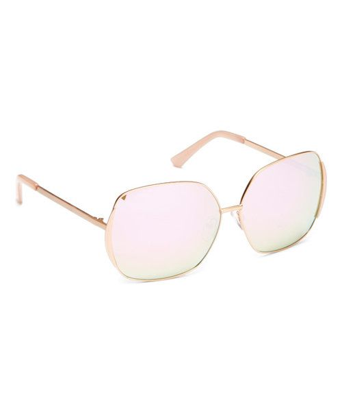 b5e1476a402 Look at this Joe s Jeans Rose Gold Polarized Thin-Frame Base 6 Square  Sunglasses on  zulily today!