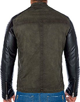 b2637aee9 Red Bridge men's biker faux leather Red Bridge jacket with quilted ...