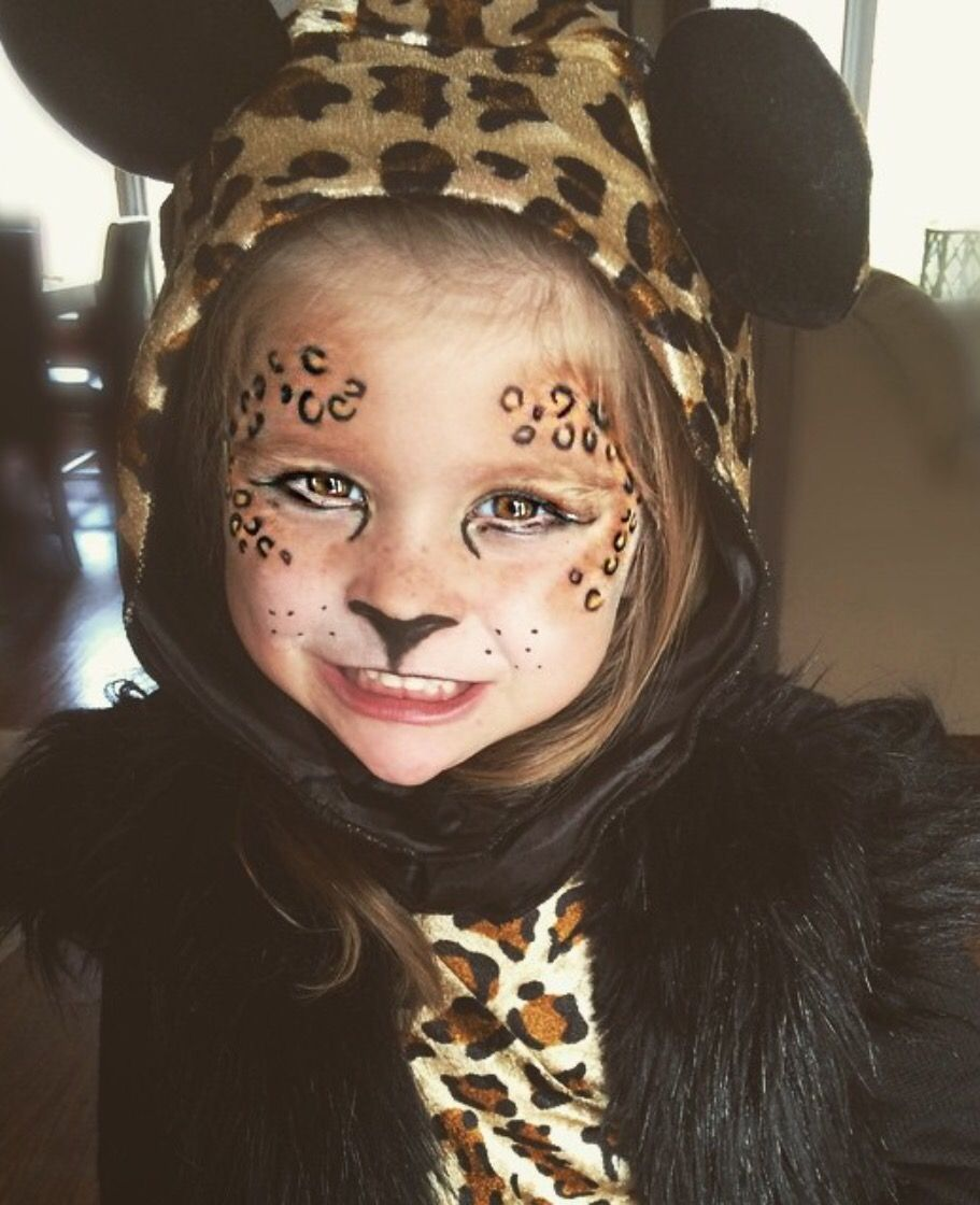Little girl Cheetah Makeup Cute Halloween makeup | Halloween=party ...