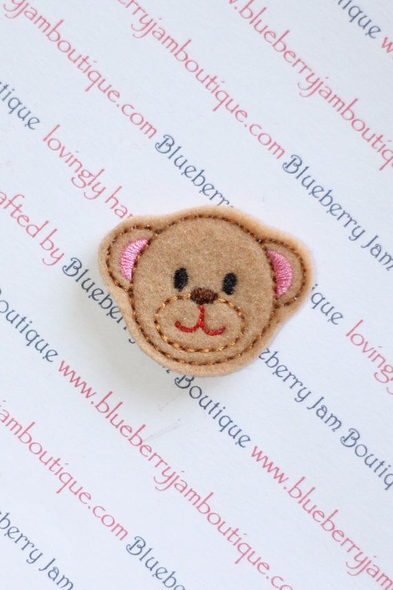 embroidered felt teddy bear faces set of by blueberryjamboutique