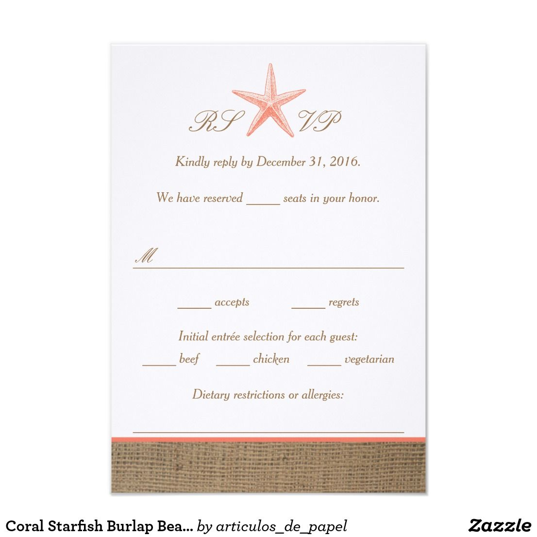 Coral Starfish Burlap Beach Wedding Rsvp Cards Starfish Burlap