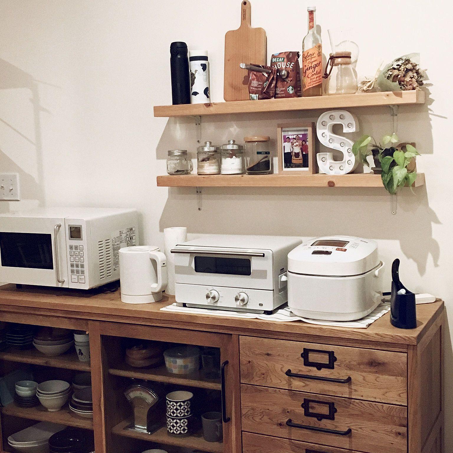 キッチン 無印良品 電気ケトル 電子レンジ カウンター などのインテリア実例 2018 05 08 19 01 32 Roomclip ルームクリップ インテリア 実例 インテリア 電気ケトル