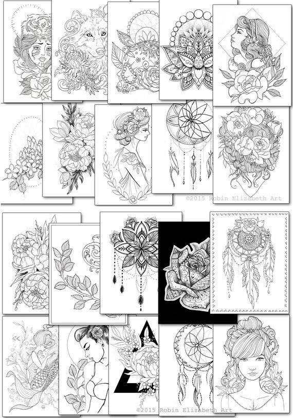 Adult Coloring Book Floral Tattoo DIGITAL Download PDF