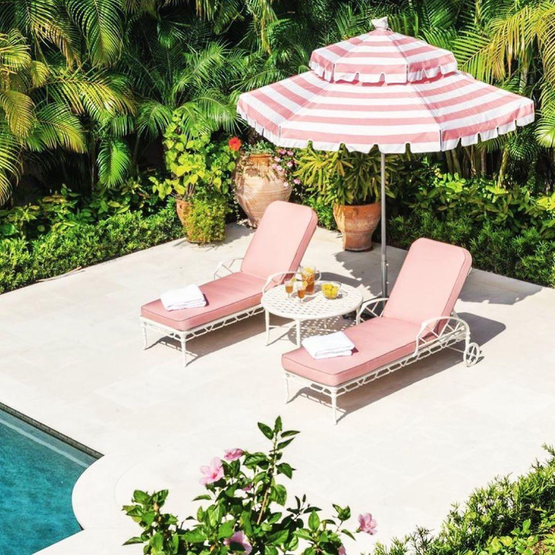 Dunbarlo Interiors New Acct On Instagram Brown Jordan Loungers Turned Pink Palmbeach Brownjordan Inspo Ont In 2020 Stylish Patio Patio Umbrellas Slim Aarons