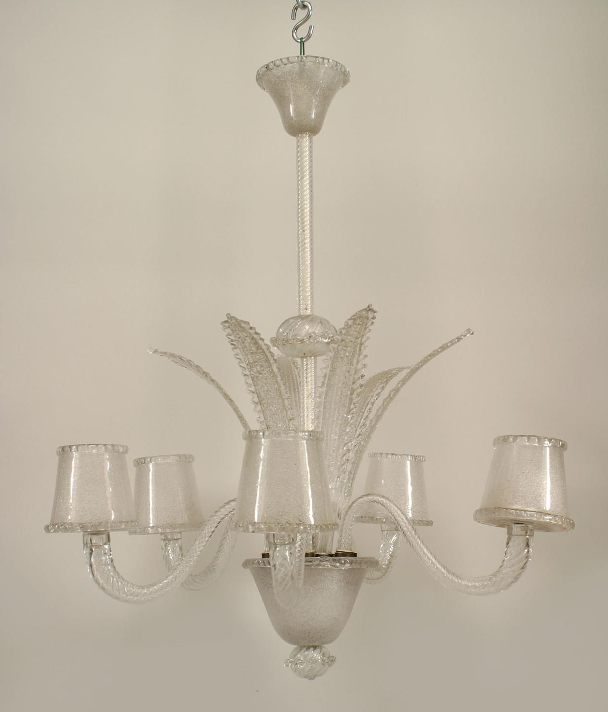 Art Moderne 1940s Italian Lighting Chandelier Glass Murano Glass