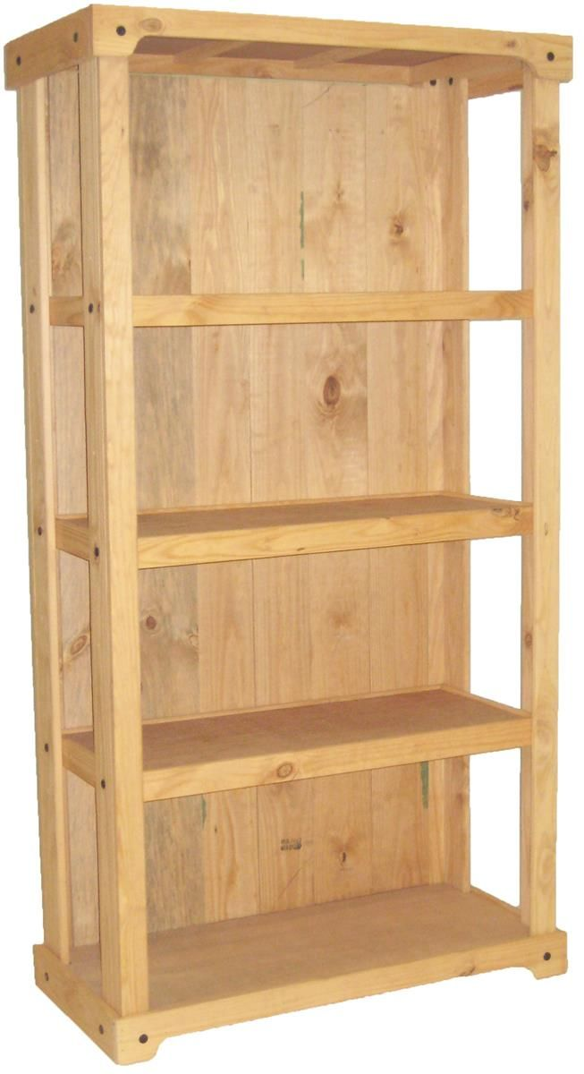 Wooden Retail Shelving Unit With 3 Shelves Closed Back Natural