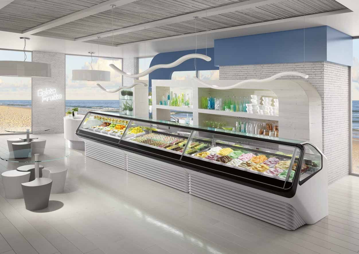 Screen gelato display case gelato shop counter gelato - Pasticceria da bagno ...