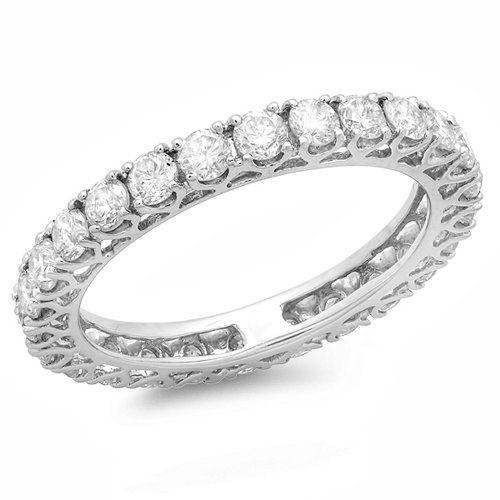 1.45 Carat (ctw) 14K White Gold Round Diamond Ladies Wedding Band Stackable Eternity Ring 1 1/2 CT