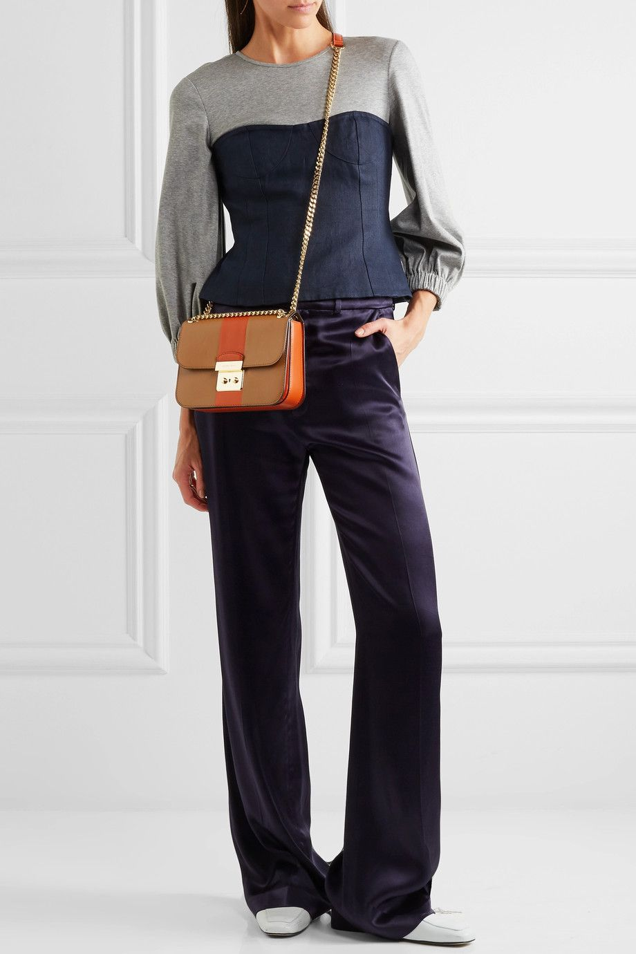 26556712aa5761 MICHAEL Michael Kors | Sloan Editor medium two-tone leather shoulder bag |  NET-A-PORTER.COM