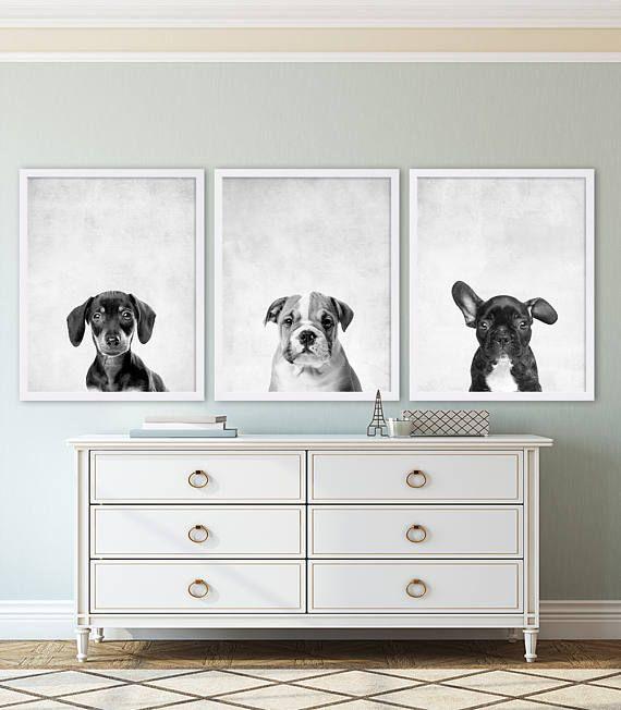 Three Puppy Dog Prints Animal Nursery Art Grey Decor Modern Home Pet Dachshund Bulldog