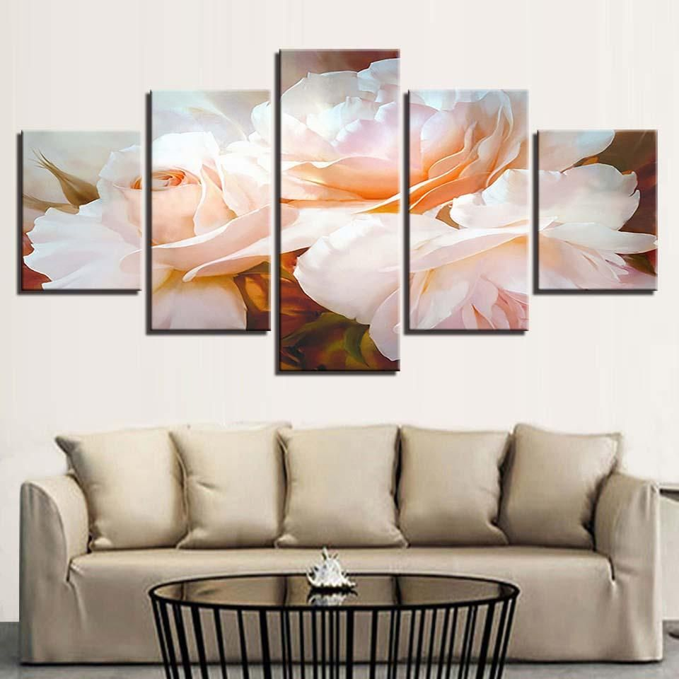 Floral flower wall art panel print for living room hd printed framed