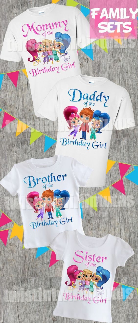 Shimmer And Shine Family Birthday Shirts Family Birthday Shirts Doc Mcstuffins Birthday Party Doc Mcstuffins