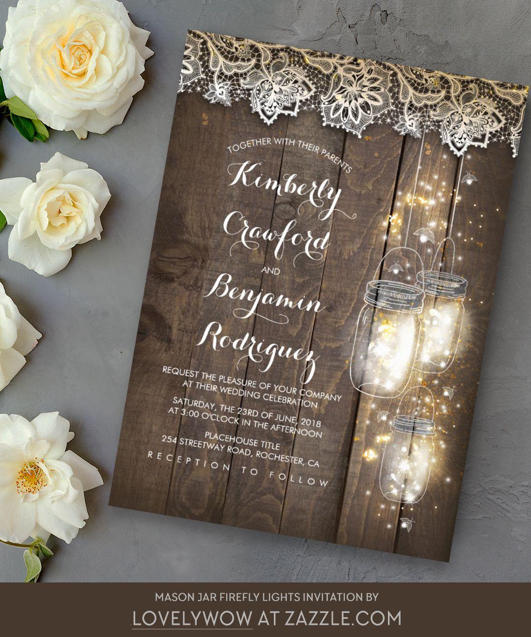 Mason Jar Firefly Lights, Lace, Wood Rustic Wedding Invitation ...