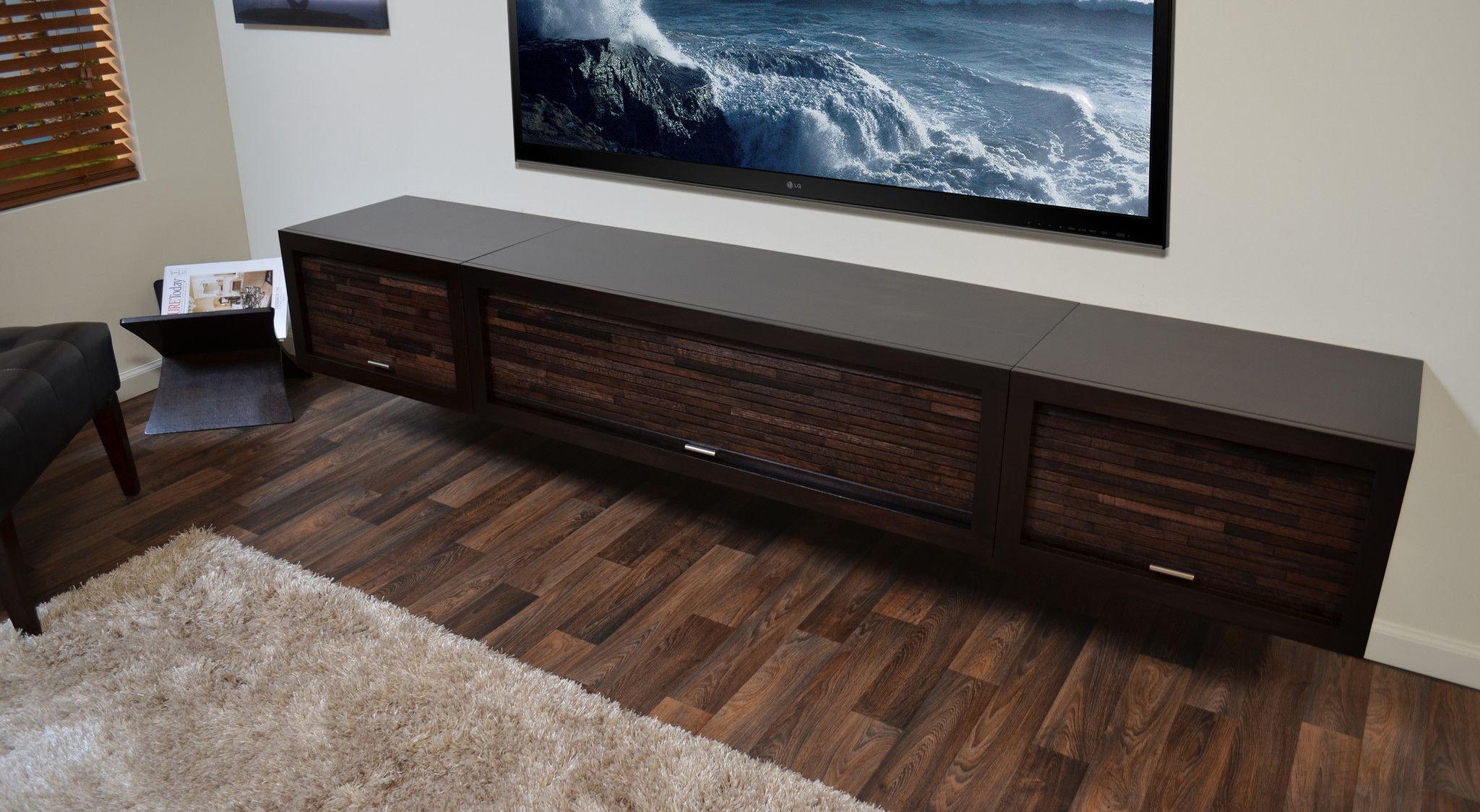 Perfect Floating TV Stand Entertainment Center   ECO GEO Espresso