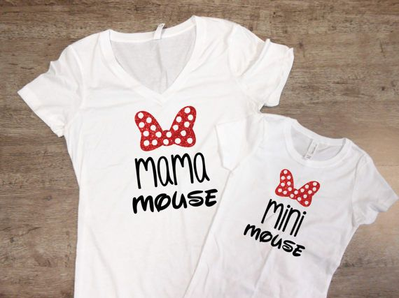 Minnie and Minnie Me shirts/Minnie Mouse mommy/daughter matching shirts/Disney ShirtSet/Disneyland DCojqB
