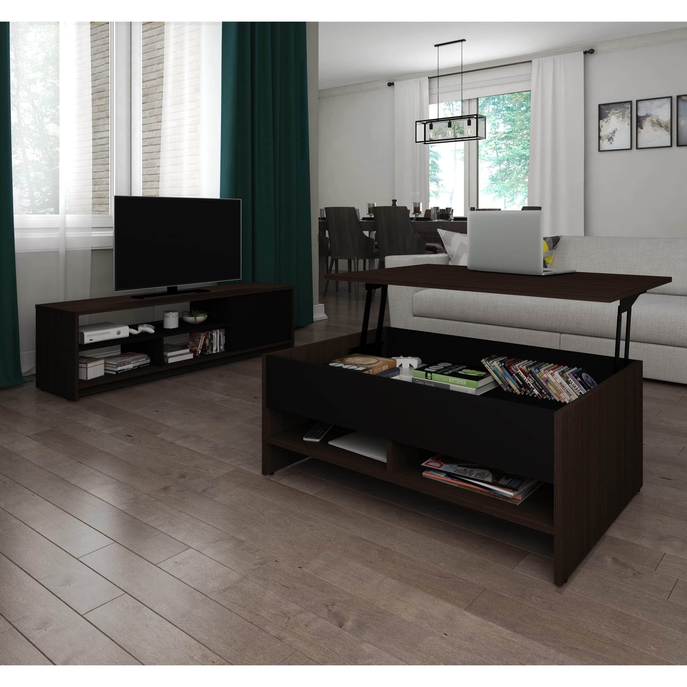 Bestar Small Space 2 Piece Lift Top Storage Coffee Table And Tv Stand Set Black Brown Finish Black Finish Products Coffee Table With Storage Tv Stand
