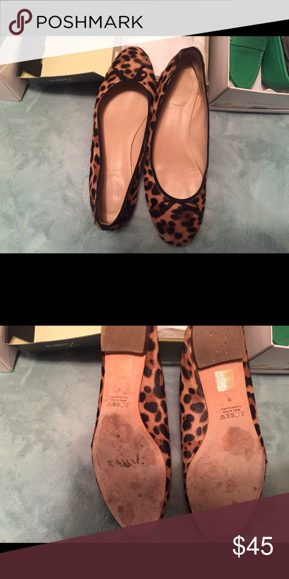 Size 11 Flats Super stylish Size 11 JCrew Flats. Genuine leather and cow hair. J. Crew Shoes Flats & Loafers