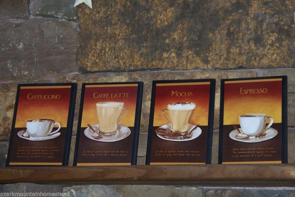 Coffee Mocha Espresso Cappuccino Latte Kitchen Wall Decor Plaques~ 4 ...