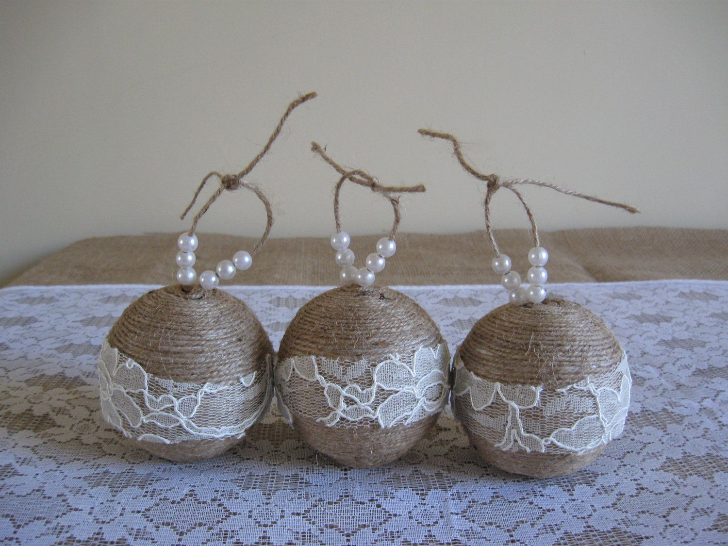 Homemade rustic christmas ornaments - Rustic Christmas Ornaments Handmade With Twine Lace Pearls 12 00 Via Etsy