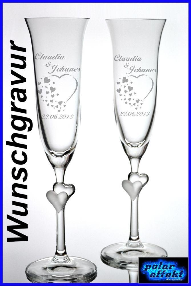 2 Sektgläser mit Hochzeit Gravur Personalisiert Individuelle ...