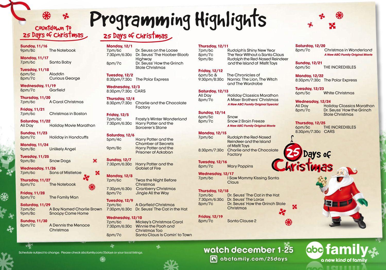 Abc Family Christmas Movies Abc Family 25 Days Of Christmas 2014