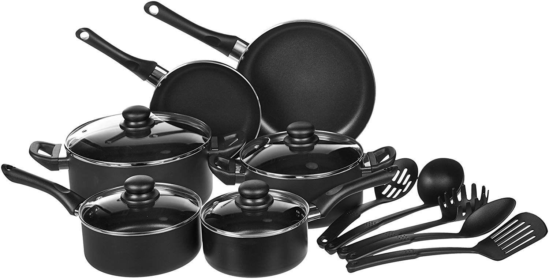 Amazon Com Amazonbasics 8 Piece Non Stick Kitchen Cookware Set