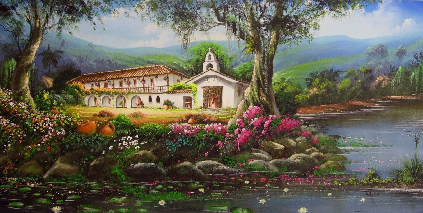 Pintor colombiano paisajes para bordar pinterest for Pintor y muralista colombiano