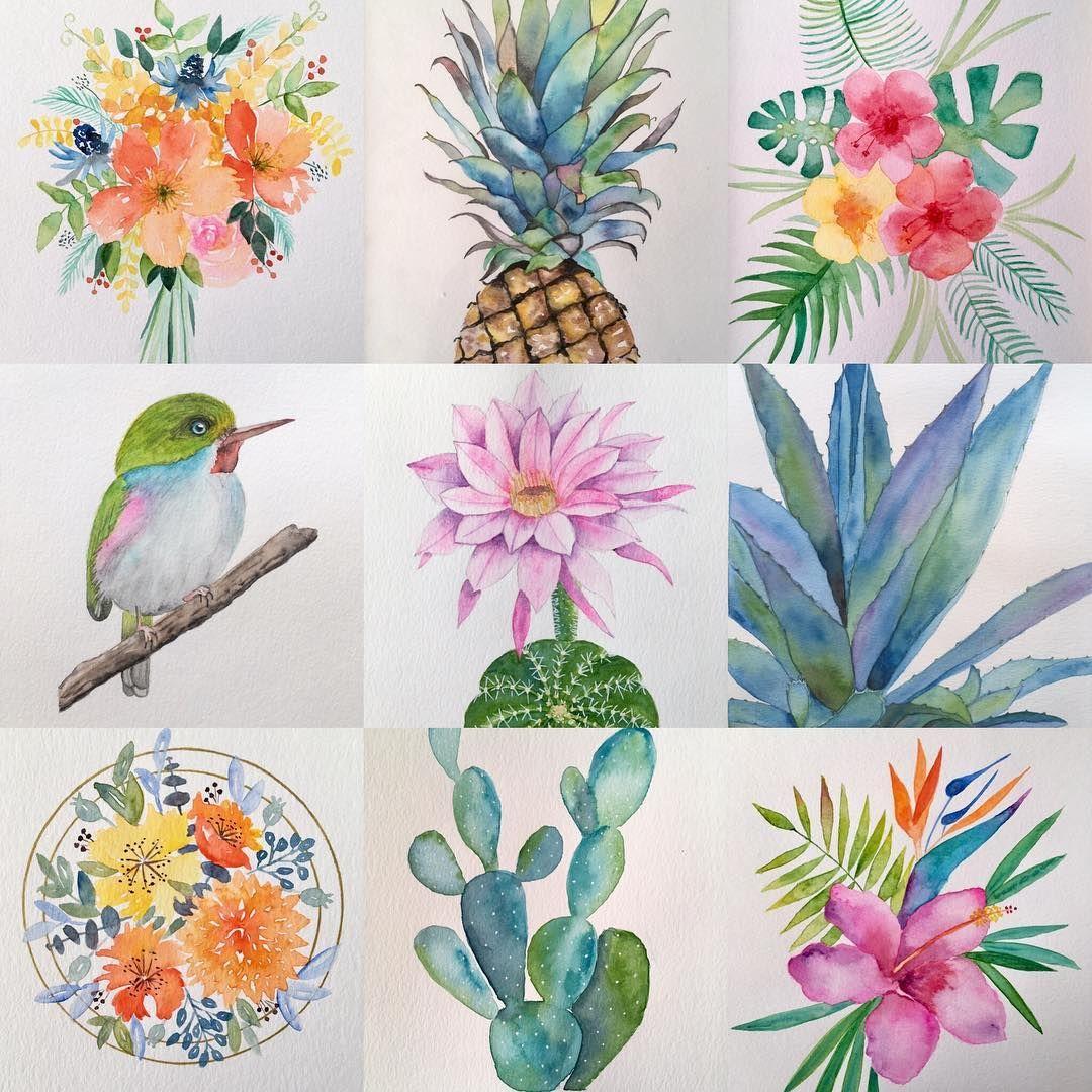 """✨Stéphanie✨ on Instagram: """"Mon #bestnine2018 😉à l'aquarelle 🎨! #aquarelle #aquarela #aquarellepainting #botanicalart #floralpainting #watercolor #watercolorpainting…"""""""
