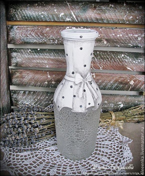 Pin von ma gorzata paw owska auf bottles glass butelki szk o pinterest flaschen flaschen - Leere flaschen dekorieren ...