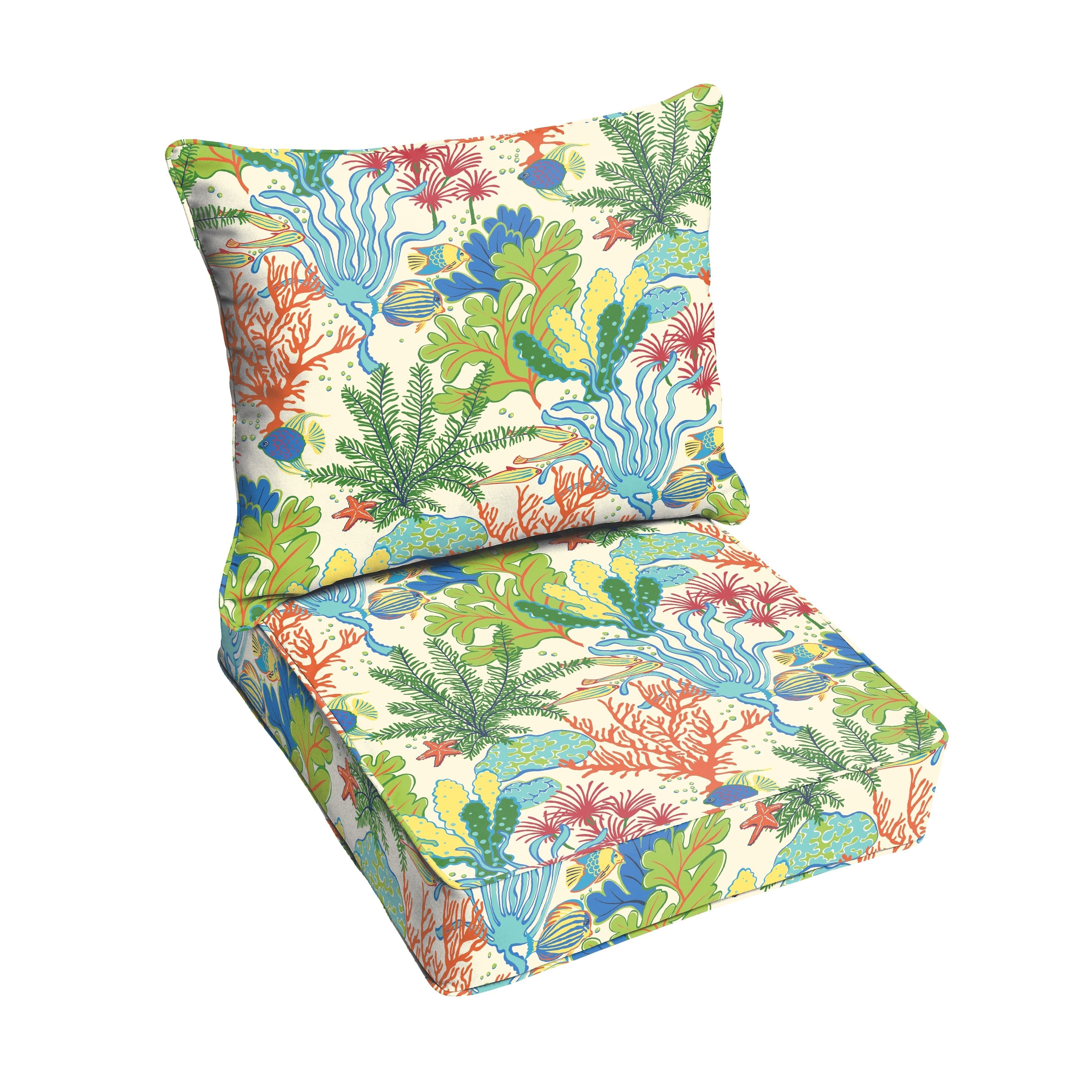 Blue Green Seascape Indoor/ Outdoor Corded Chair Cushion And Pillow Set (OSPC4903) (Polyester, Graphic Print), Outdoor Cushion