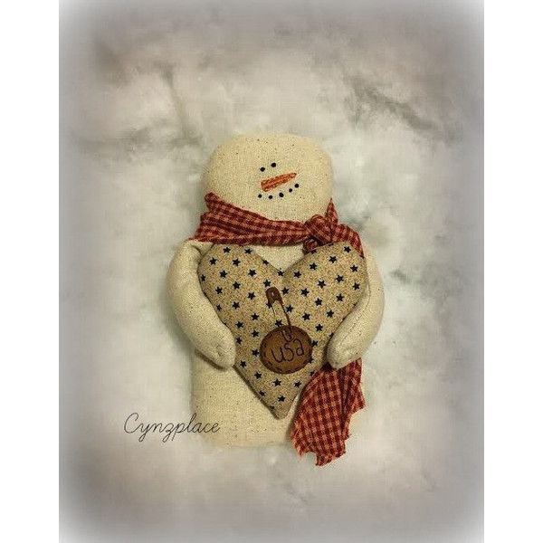 Patriotic Snowman Ornament Winter Americana Primitive 12 Liked Red Home Decorhandmade