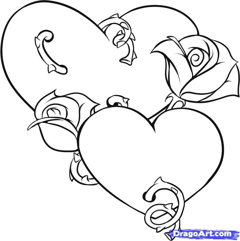 Step 5 Heart Coloring Pages Love Coloring Pages Rose Coloring Pages