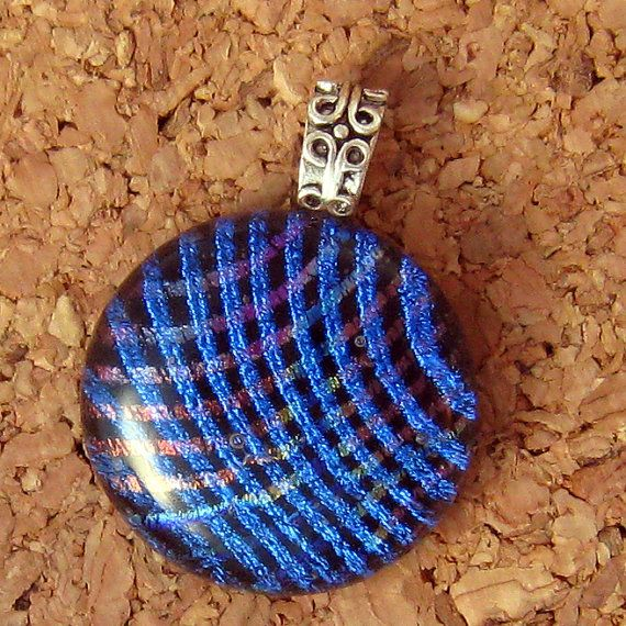 Dichroic Stacked Pendant Fused Glass Pendant by GlassMystique, $22.00