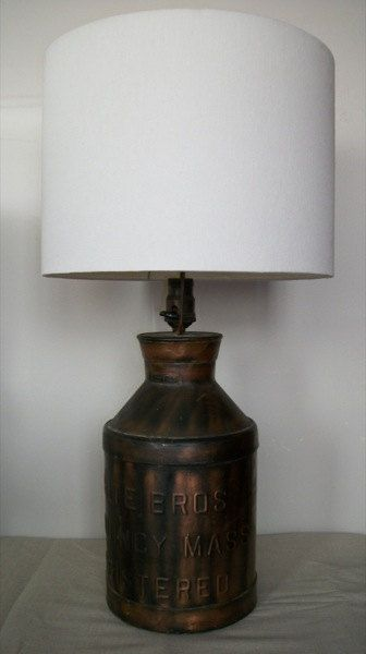 Milk Jug Lamp Would Look Good With A Burlap Shade Old Milk Cans Primitive Lamps Vintage Milk Can