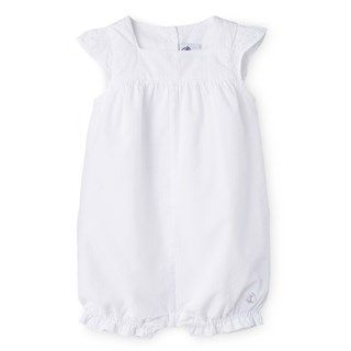 Baby girl short coverall in dotted swiss cotton