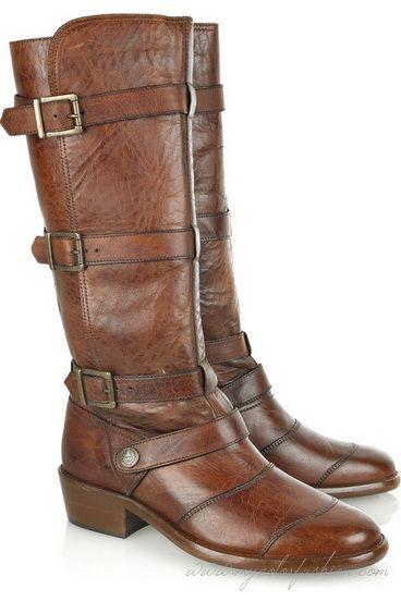 Belstaff Jenn Lady Brown Leather Boots | Distressed ...