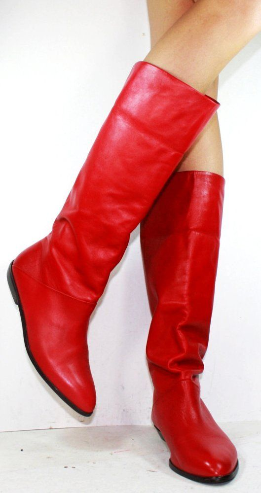 2013 Vintage Knee High Boots - Red