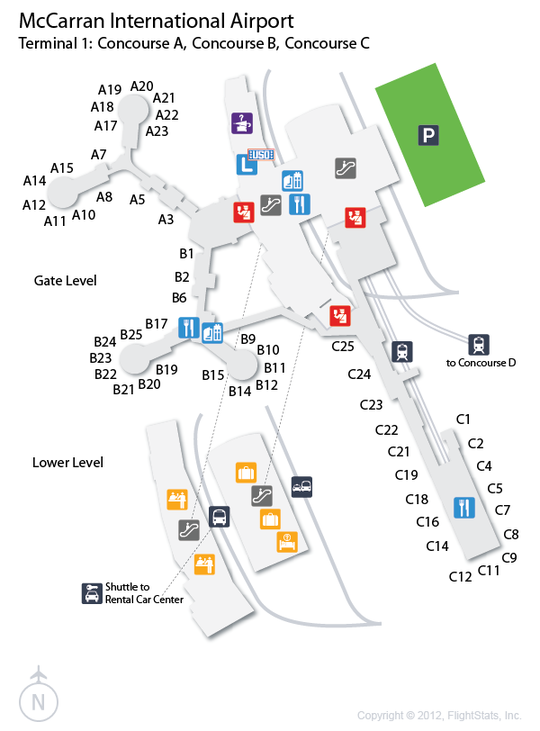 Las Vegas Airport Terminal Map LAS) McCarran International Airport Terminal Map | airports | Las