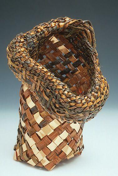 Willow Bark Bias Weave Basket by Judy Zugish